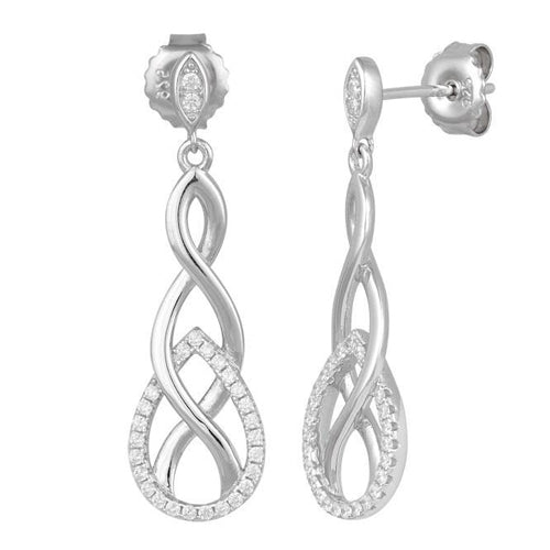 Sterling Silver Infinity Marquise CZ Dangle Earrings