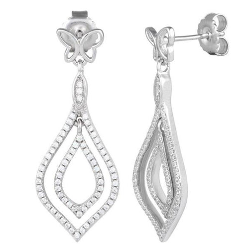 Sterling Silver Butterfly Drop CZ Dangle Earrings