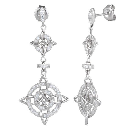 Sterling Silver Double Cross CZ Dangle Earrings