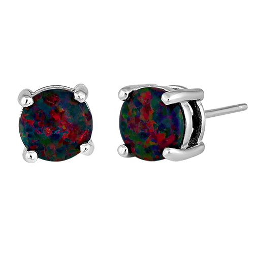 Sterling Silver Round Rainbow Lab Opal Stud Earrings