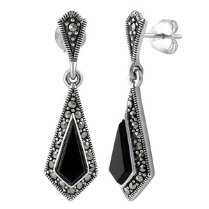 Sterling Silver Kite Black Onyx Marcasite Earrings