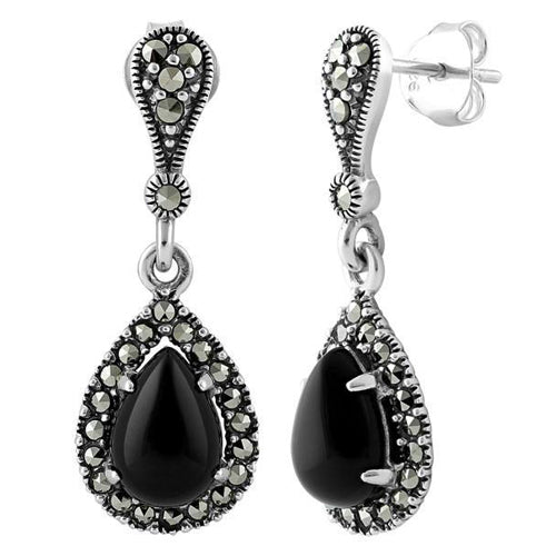 Sterling Silver Tear Drop Black Onyx Marcasite Earrings
