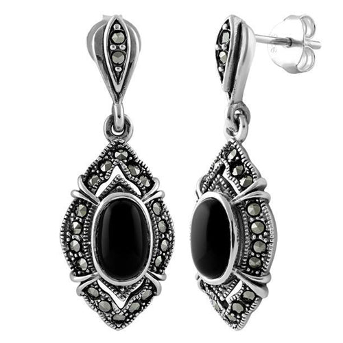 Sterling Silver Oval Drop Black Onyx Marcasite Earrings