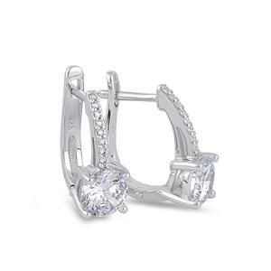 Sterling Silver Elegant Clear CZ Hoop Earrings