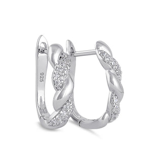 Sterling Silver Clear CZ Rope Twist Hoop Earrings
