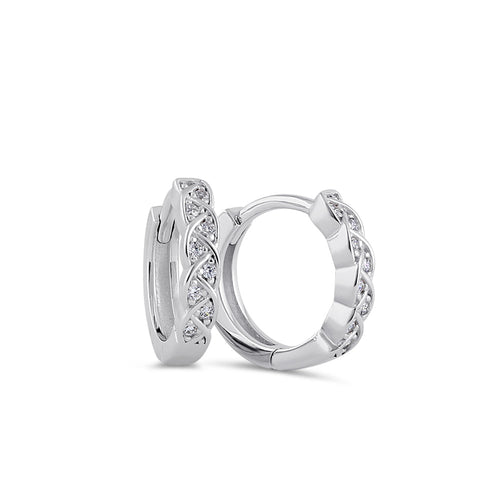 Sterling Silver 10mm x 3mm Celtic Twist CZ Hoop Earrings