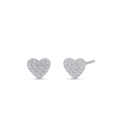 Sterling Silver Clear CZ Heart Earrings