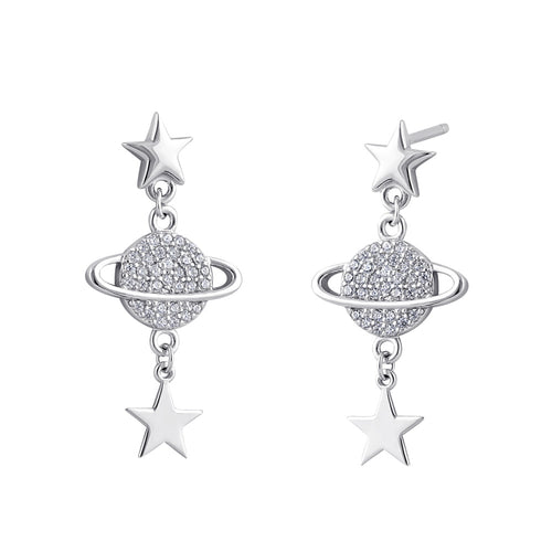 Sterling Silver Clear CZ Planet and Star Dangle Earrings