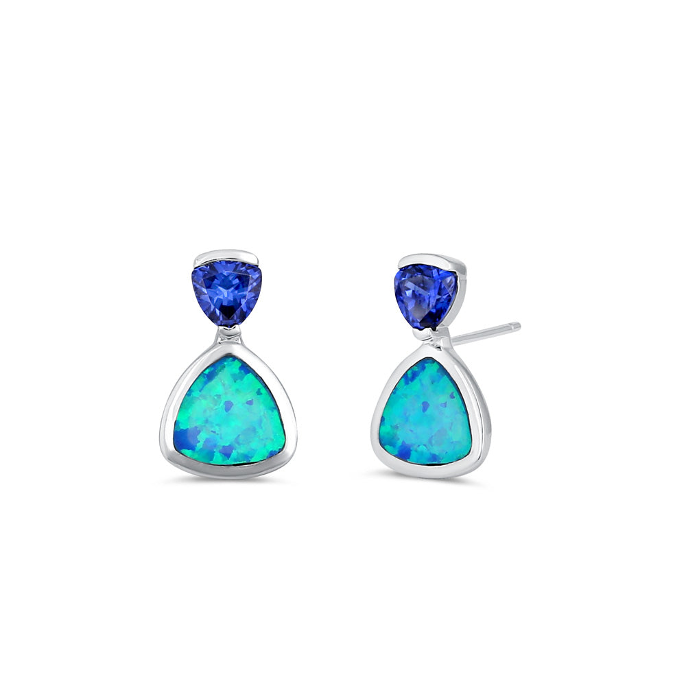Sterling Silver Tanzanite CZ Trillion Blue Lab Opal Drop Earrings