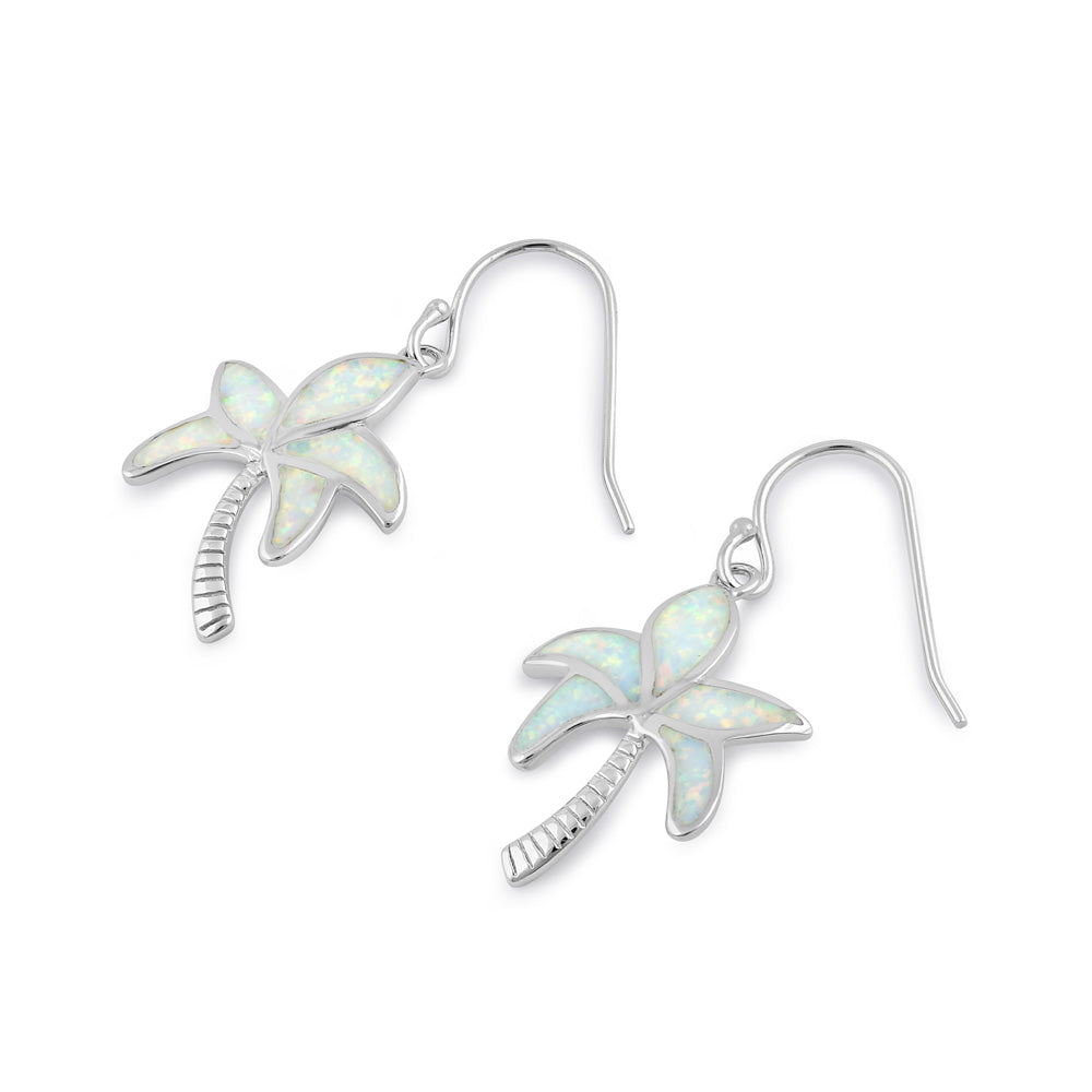 Sterling Silver White Lab Opal Palm Tree Earrings