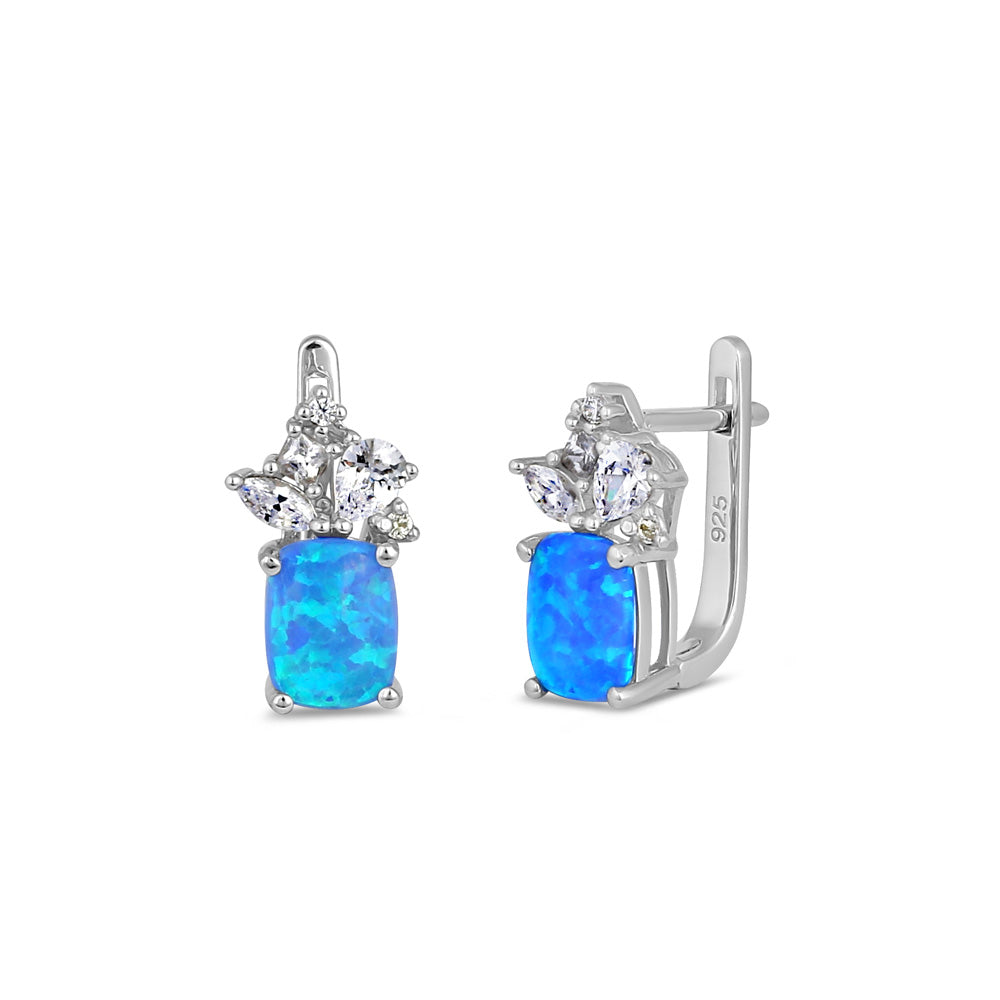 Sterling Silver Blue Lab Opal Squoval CZ Cluster Earrings