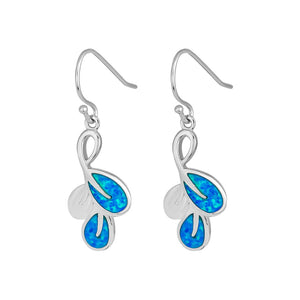 Sterling Silver Blue Lab Opal Leaf Hook Earrings