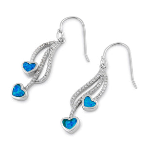 Sterling Silver CZ Dazzling Blue Lab Opal Heart Earrings