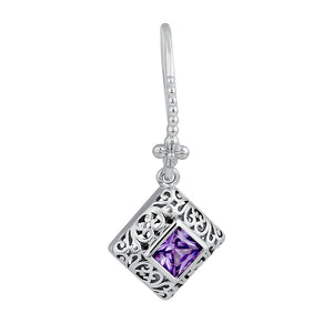 Sterling Silver High Polish Filigree Square Cut Amethyst CZ Earrings