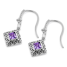 Load image into Gallery viewer, Sterling Silver High Polish Filigree Square Cut Amethyst CZ Earrings