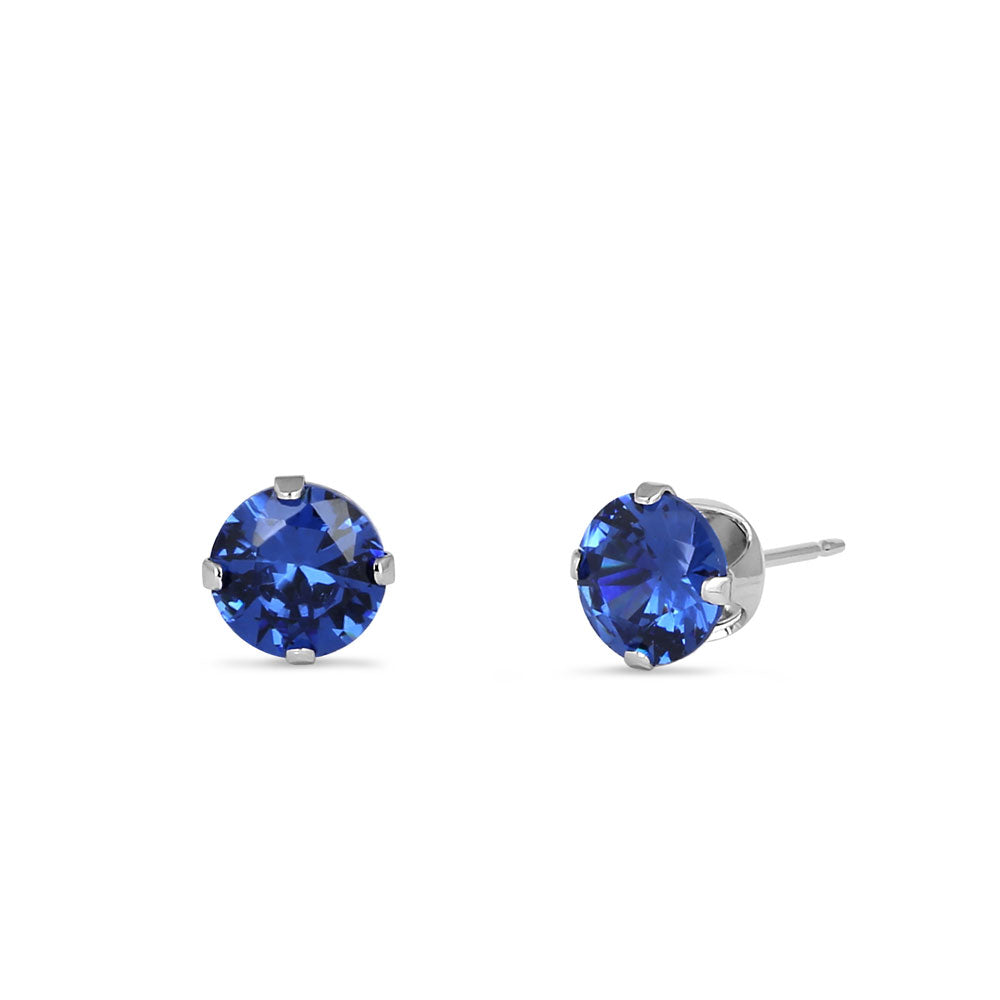 0.5ct Sterling Silver Blue Round Spinel CZ Stud Earrings 4mm