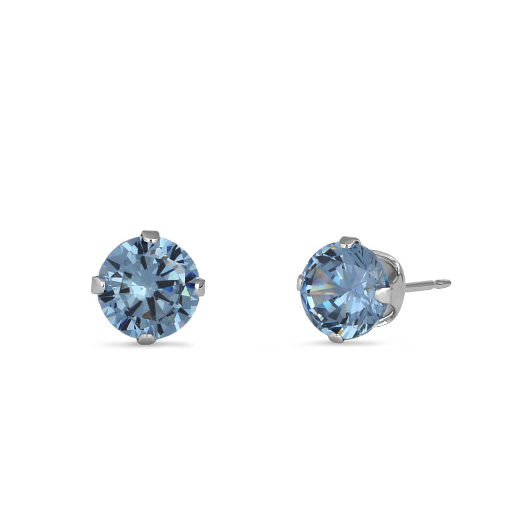 1.00 Ct Sterling Silver Aquamarine Glass 5mm Stud Earrings