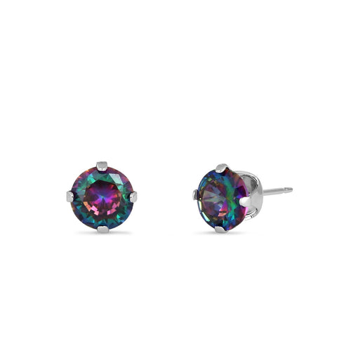 0.5ct Sterling Silver Round Rainbow Topaz CZ Stud Earrings 4mm