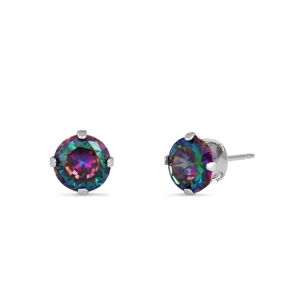0.9ct Sterling Silver Round Rainbow Topaz CZ Stud Earrings 5mm