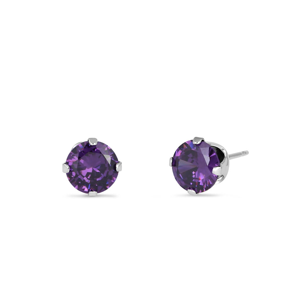 0.5ct Sterling Silver Round Amethyst CZ Stud Earrings 4mm