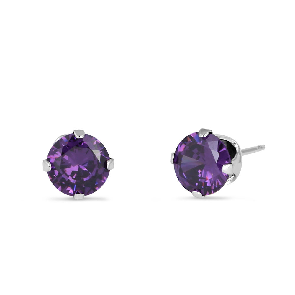 1.50 Ct Sterling Silver Amethyst 6mm CZ Stud Earrings