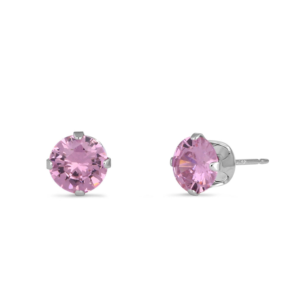 0.9ct Sterling Silver Round Pink CZ Stud Earrings 5mm