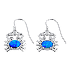 Load image into Gallery viewer, Sterling Silver Blue Lab Opal Crab CZ Earrings
