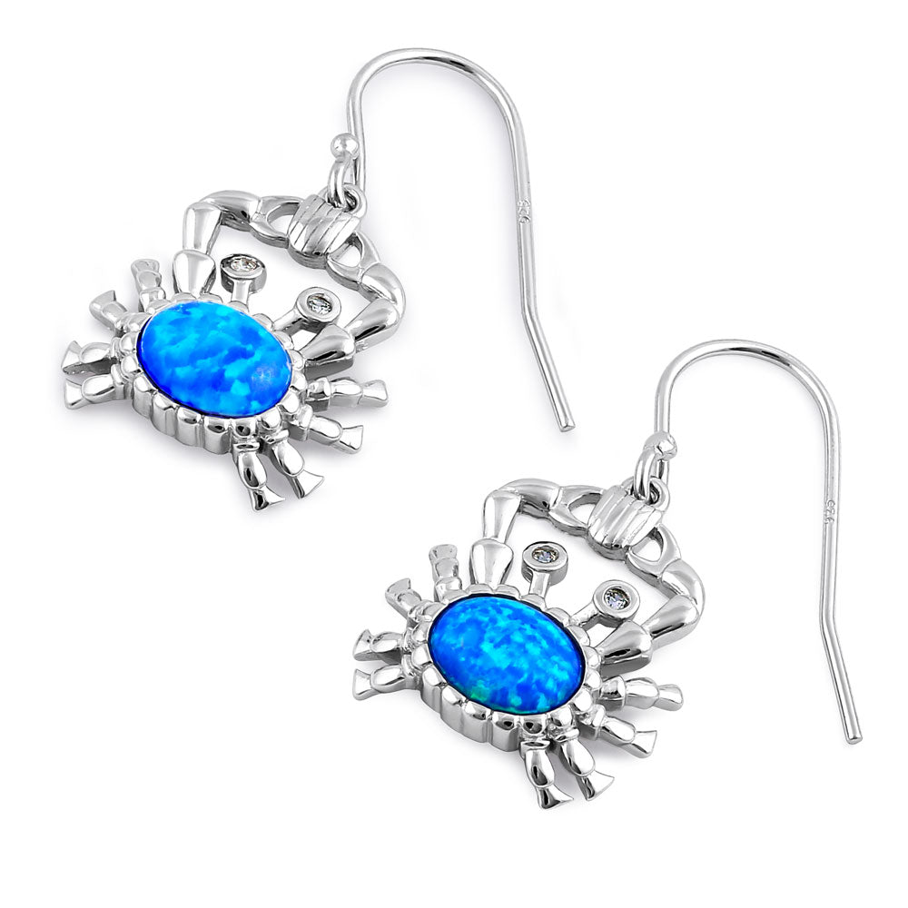 Sterling Silver Blue Lab Opal Crab CZ Earrings