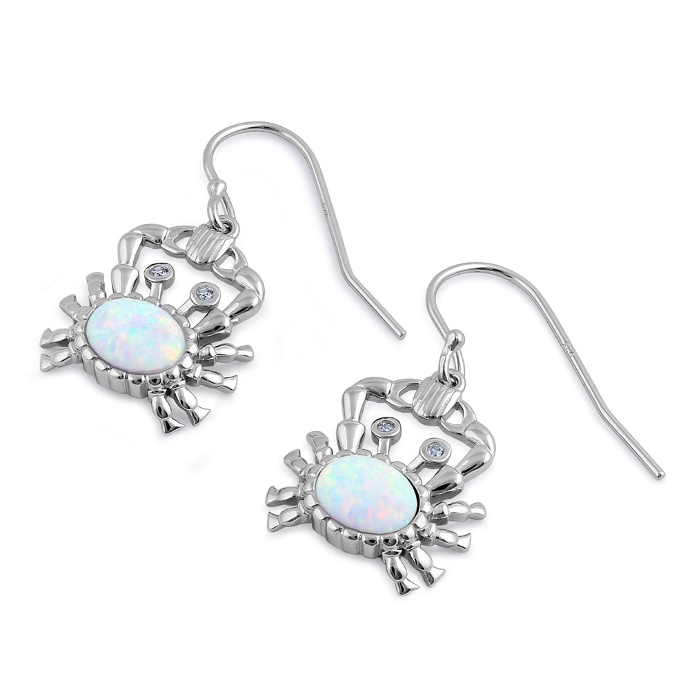 Sterling Silver White Lab Opal Crab CZ Earrings