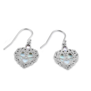 Sterling Silver White Lab Opal Victorian Heart with Clear Pear CZ Earrings
