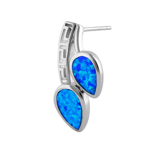 Sterling Silver Blue Lab Opal Greek Pear Drop Earrings