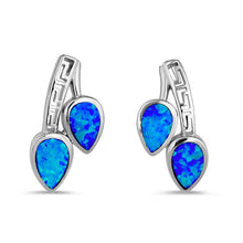 Load image into Gallery viewer, Sterling Silver Blue Lab Opal Greek Pear Drop Earrings