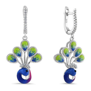 Sterling Silver Hand-Painted Royal Peacock Round Cut Clear CZ Earrings