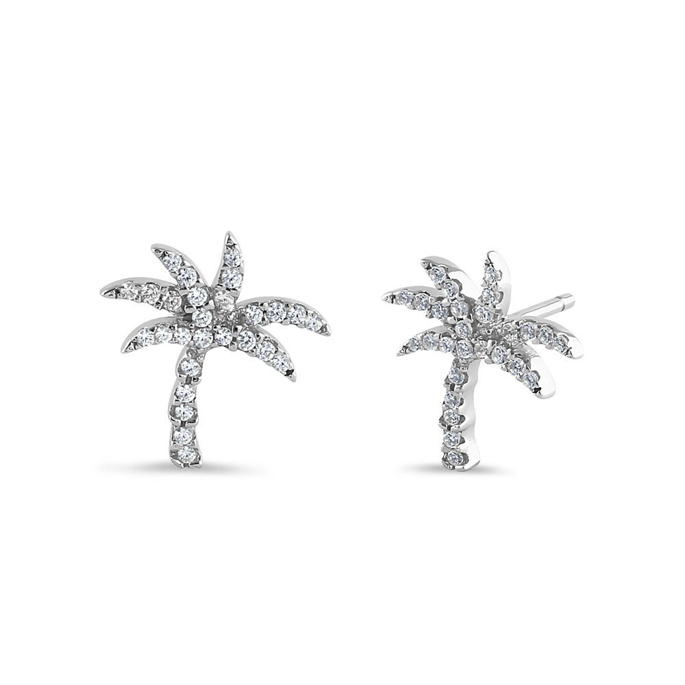 Sterling Silver Palm Tree Round Cut Clear CZ Earrings