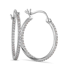 Load image into Gallery viewer, Sterling Silver Unique Double Layer Hoops Round Cut Clear CZ Earrings