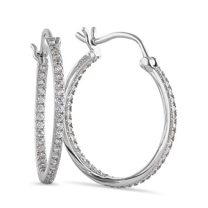 Sterling Silver Unique Double Layer Hoops Round Cut Clear CZ Earrings