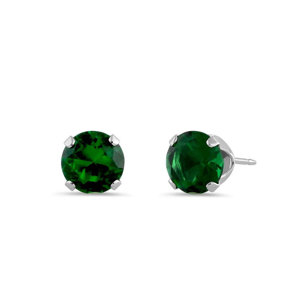 0.5ct Sterling Silver Round Green CZ Stud Earrings 4mm