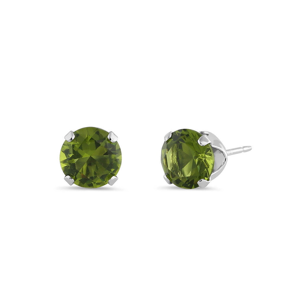 0.5ct Sterling Silver Round Peridot CZ Stud Earrings 4mm