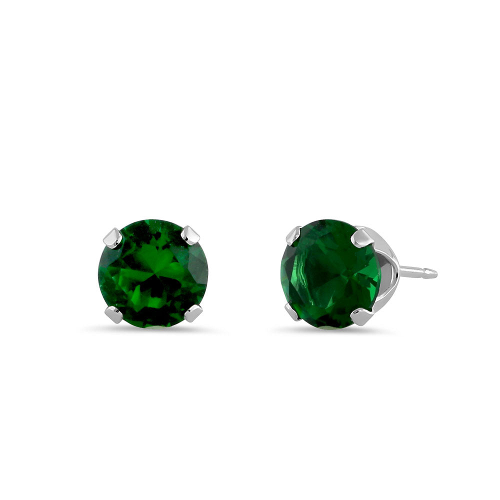 0.9ct Sterling Silver Round Green CZ Stud Earrings 5mm