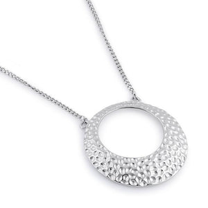 Sterling Silver Round Hammered Necklace
