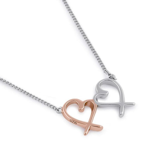 Sterling Silver Two-tone Heart Design Necklace