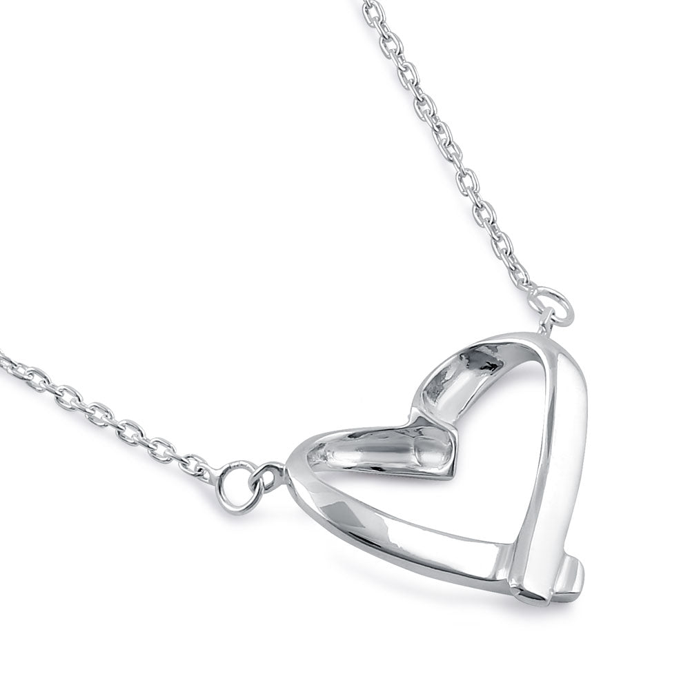 Sterling Silver 16mm x 18.5mm Ribbon Heart Necklace