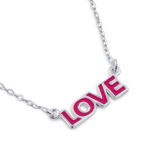 Sterling Silver Pink Enamel Love Necklace