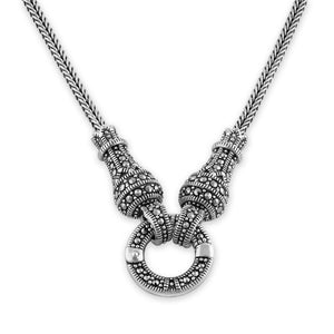 Sterling Silver Large Detachable Circle Marcasite Necklace