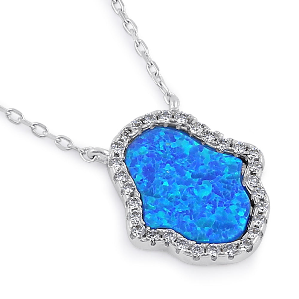 Sterling Silver Clear CZ and Blue Opal Hamsa Necklace