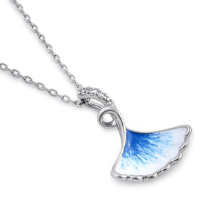 Sterling Silver Blue and White Enamel Shell CZ Necklace