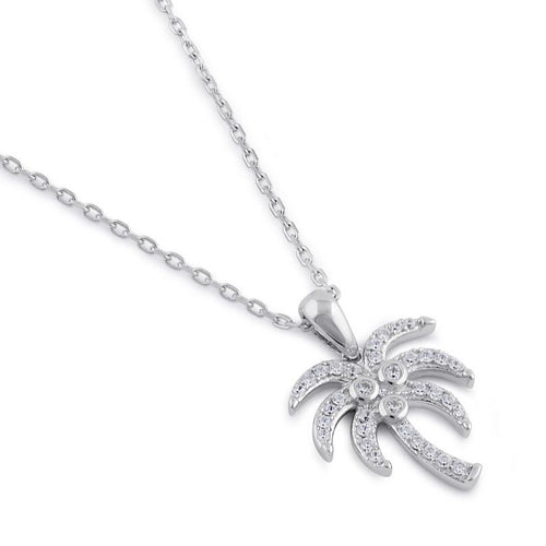 Sterling Silver Clear CZ Palm Tree Necklace