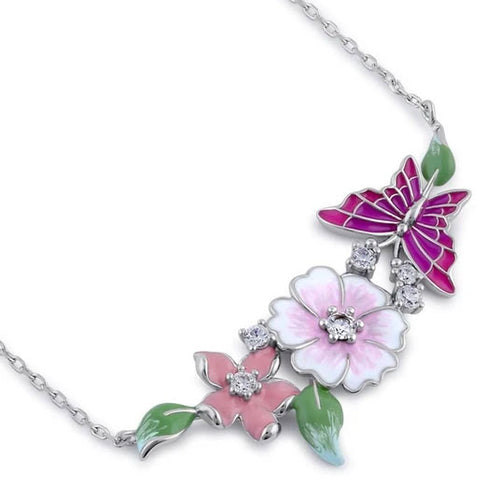 Sterling Silver Clear CZ Enamel Floral Necklace