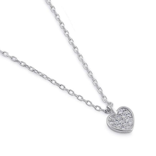 Sterling Silver Clear CZ Dainty Heart Necklace
