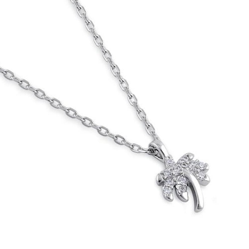 Sterling Silver Clear CZ Dainty Palm Tree Necklace